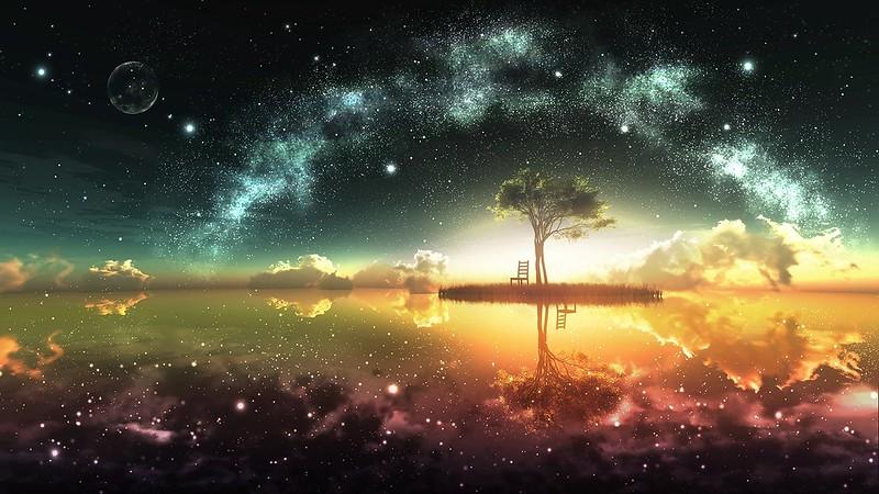Обои дерево, остров, мост, ночь картинки на рабочий стол, фото скачать бесплатно