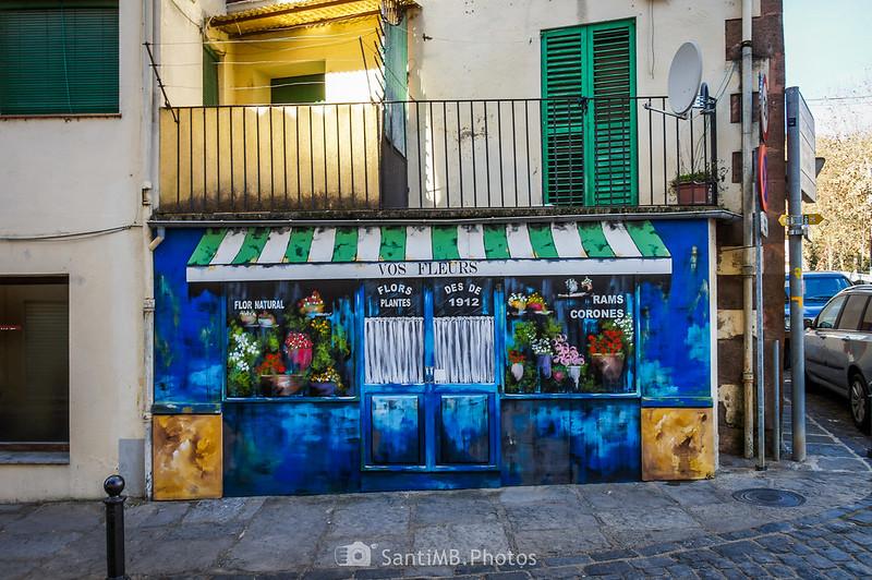 Floristería junto a la Plaça Major de Sant Joan les Fonts
