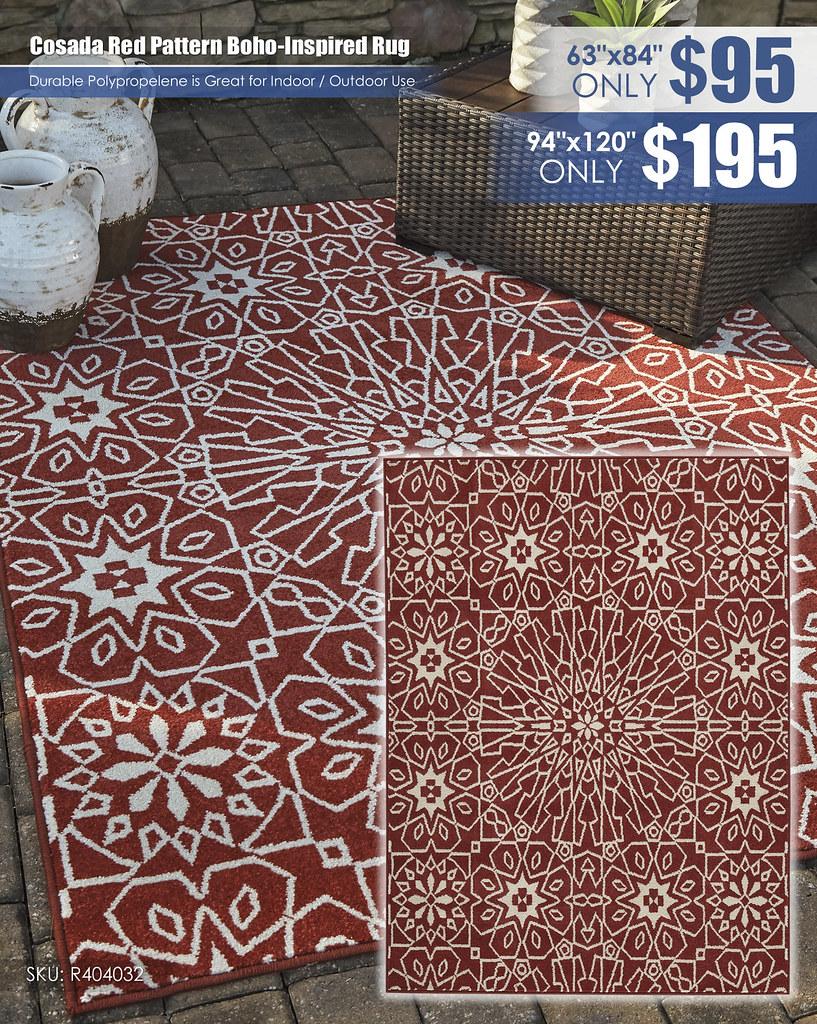 Cosada Red Pattern Boho Inspired Rug_R404032