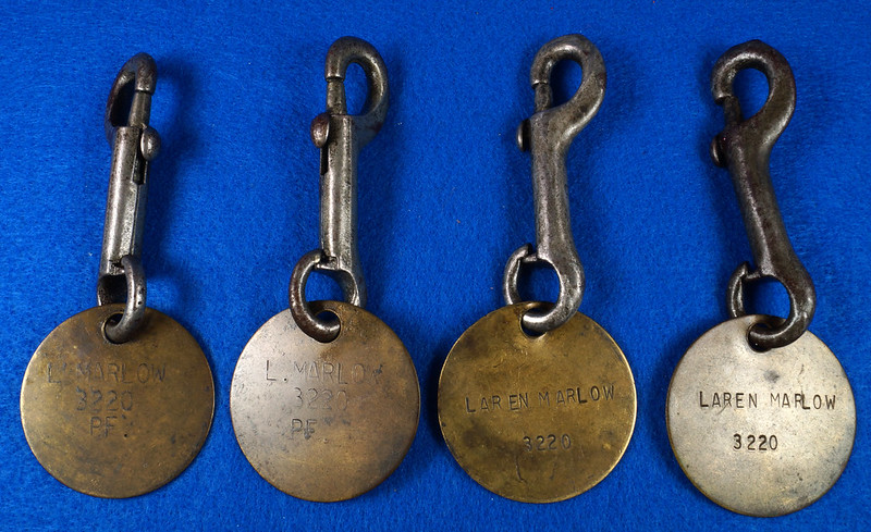 RD27754 Vintage Brass Military Tag on Snap Hook DSC00048