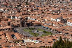 Cuzco Plaza de Armas from Ruin of Sacsayhuaman (Saqsaywaman), Cusco, Peru