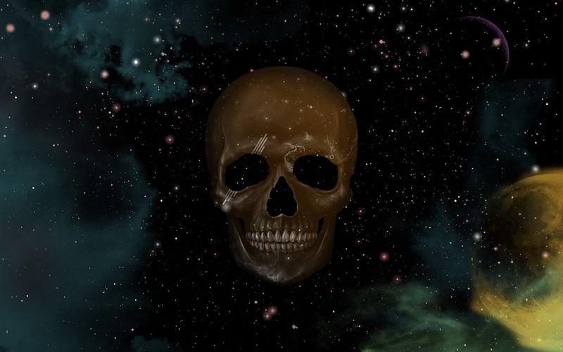 Обои череп, небо, точки, звезды, рисунок картинки на рабочий стол, фото скачать бесплатно