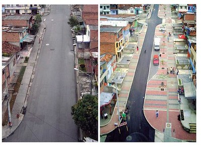 Medellin, Northeastern Urban Integration project, converted typical arterial into a multi-modal, pedestrian focused street