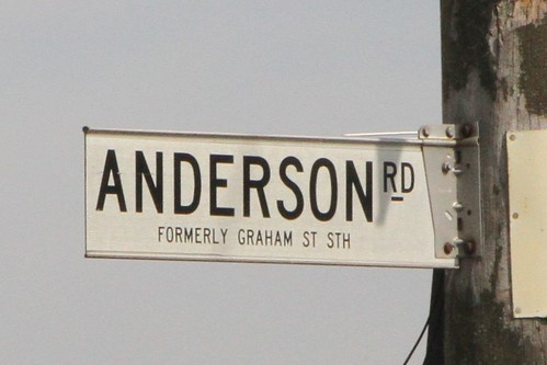 'Formerly Graham Street South' on Anderson Road near the Wright Street intersection