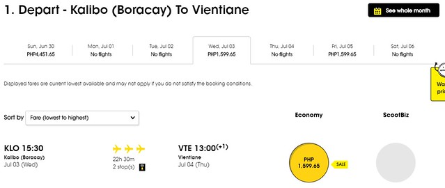 Scoot Airlines Kalibo to Vientiane Promo