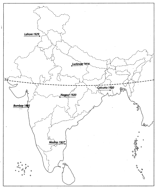 Class 10 History Map Work Chapter 3 Nationalism in India 1