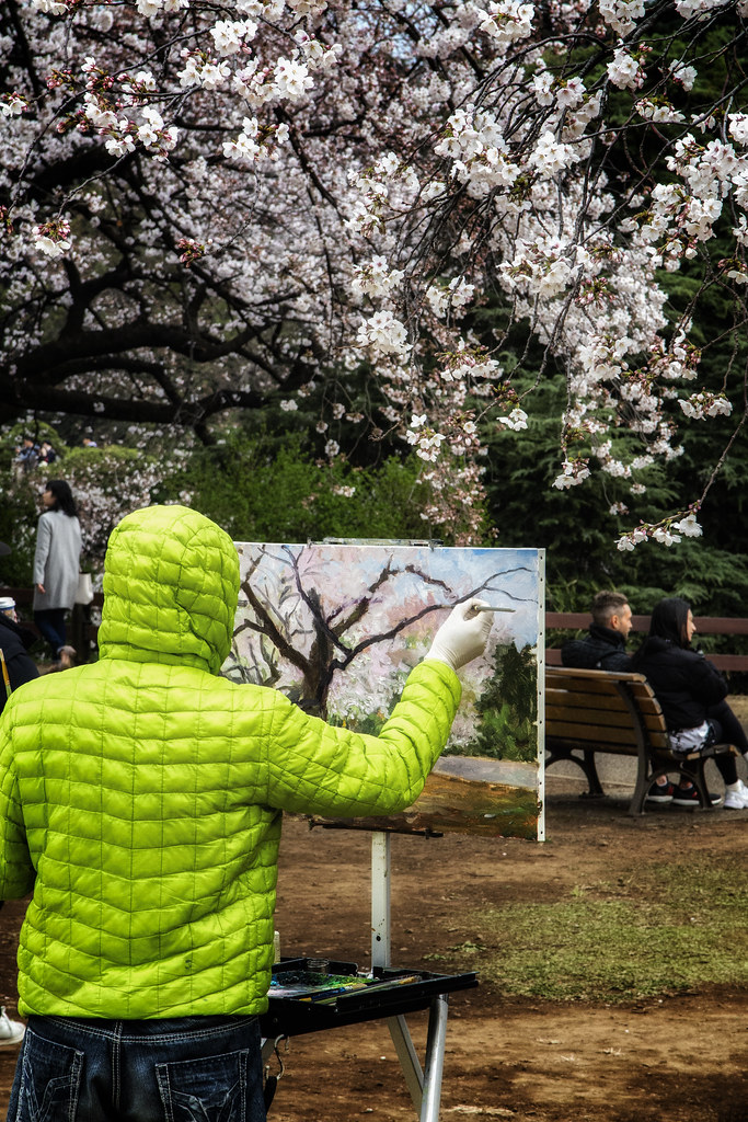 Painting Cherry Blossom In Tokyo