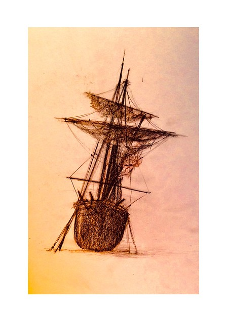 Unloaded, waiting for the next Tide. Black pencil drawing on coloured card by jmsw