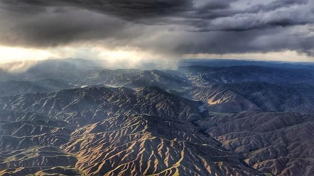 Storm near Arrowrock Reservoir and surrounding hills.