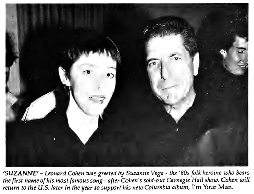 Leonard Cohen with Suzanne Vega after Carnegie Hall show in 1988