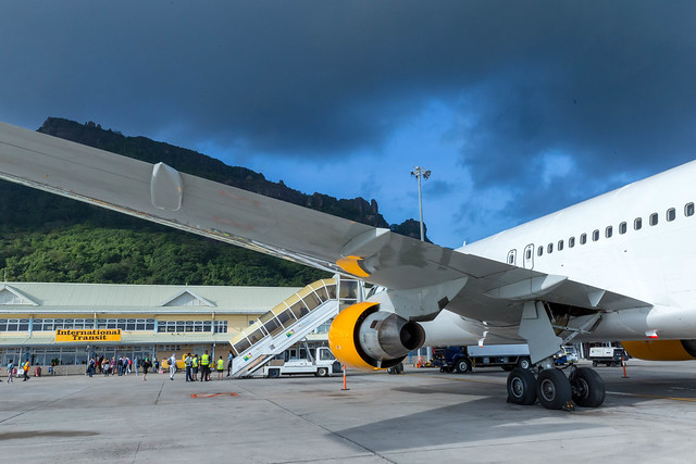 International Transit Area at Seychelles Airport in Mahé shows airplane entrance