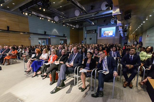 Tue, 04/09/2019 - 15:14 - April 09, 2019 - WASHINGTON DC - 2019 World Bank/ IMF Spring Meetings. World Bank Group CEO Kristalina Georgieva, IFC VP for Latin America & the Caribbean and Europe and Central Asia Georgina Baker, and the Sexual Violence Research Initiative founder Claudia Garcia-Moreno, 11 winners from around the world were awarded prize money to design, implement, and capture results of new solutions, including the first-ever private sector winner. Photo: World Bank / Grant Ellis