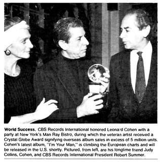 Leonard Cohen (with Judy Collins) honored with Crystal Globe award in 1988