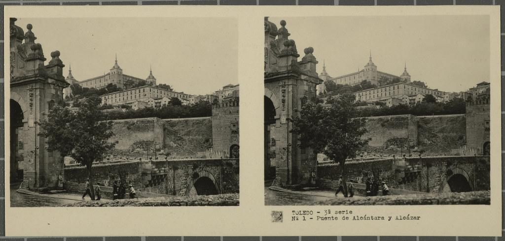Puente de Alcántara y Alcázar. Colección de fotografía estereoscópica Rellev © Ajuntament de Girona / Col·lecció Museu del Cinema - Tomàs Mallol