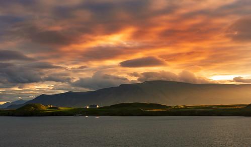 iceland reykjavik skarfabakkiharbour sunrise videy clouds cloudscape harbor island