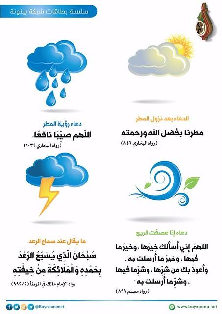 ➊ #الدعاء بعد نزول #المطر ➋ دعاء رؤية المطر ➌ دعاء إذا عصفت #الريح ➍ ما يقال عند سماع #الرعد #الشتاء #السنة #الأمطار #الإمارات  #بطاقات_شبكة_بينونة_للعلوم_الشرعية  الموقع : http://www.baynoona.net/ar/