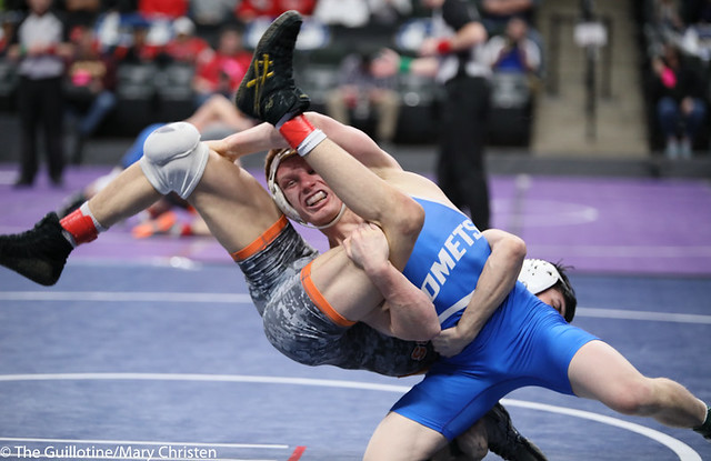 120AA 3rd Place Match - Landen Parent (Princeton) 24-4 won by major decision over Robby Horsman (Kasson-Mantorville) 35-11 (MD 11-3). 190302BMC3638