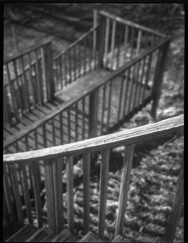 looking down, wooden stairway, zig-zag movement, Asheville, NC, Zenobia, Arista.Edu 200, Ilfod Ilfosol 3 developer, 1.7.19