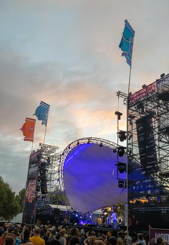 womadelaide 2019 adelaide australia botanicpark sa southaustralia festival flags people sky stage sunset
