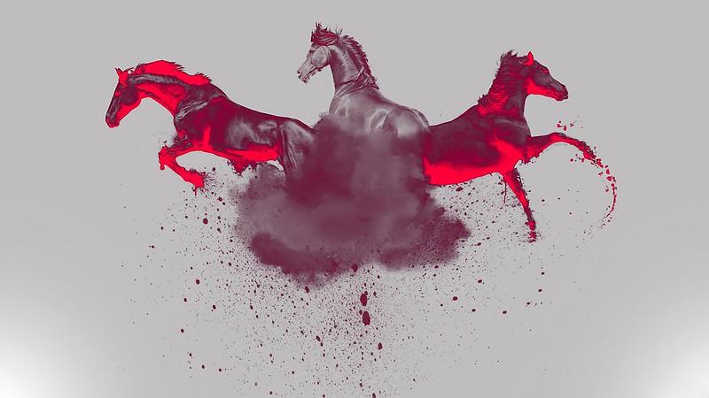 Обои лошади, краска, брызги, абстракция картинки на рабочий стол, фото скачать бесплатно