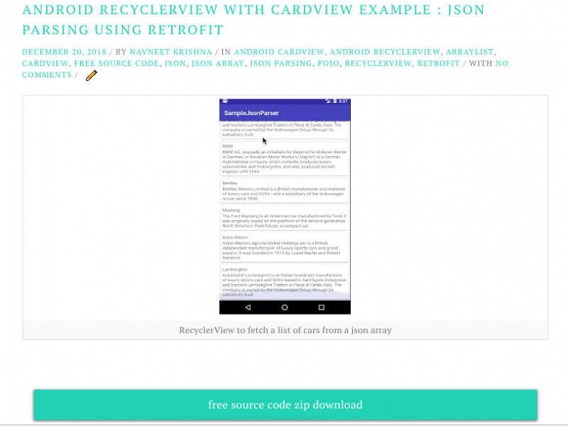 Android RecyclerView with CardView example json parsing using Retrofit 2