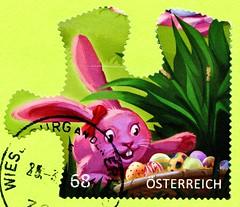 great stamp Austria 68c Easter Bunny Happy Easter (Osterhase, conejo de Pascua, lièvre de Pâques, coniglio pasquale, húsvéti nyúl; Frohe Ostern! Joyeuses Pâques! С Па́схой! Buona Pasqua! Feliz Páscoa!) postage timbre Autriche selo sello francobollo Austri