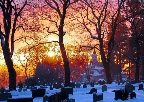 graves graveyard churchyard cemetery chapel church trees branches snow winter sunset sky grefsen oslo norway