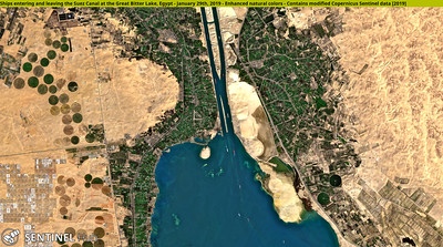 Ships entering and leaving the Suez Canal at the Great Bitter Lake, Egypt