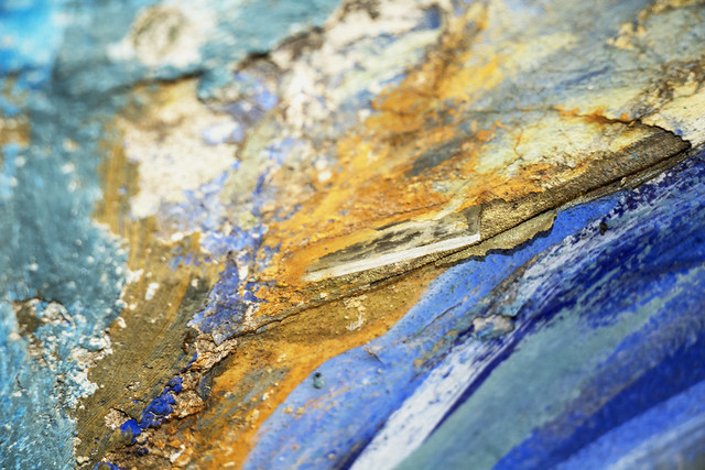 Ochre and blue