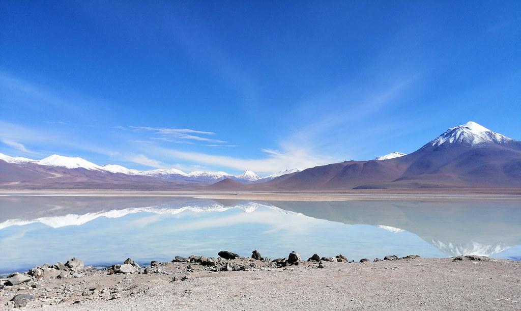 The White Lagoon (Laguna Blanca) at 4,350m. (14,270 ft.), Bolivian Highlands (Altiplano Boliviano), Sur Lípez, Potosí, Bolivia.