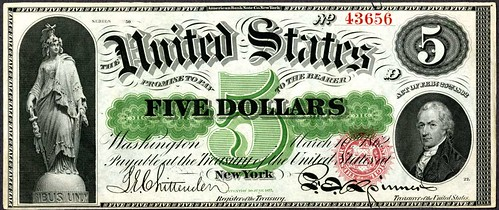 1862 $5 LEgal Tender note   by Numismatic Bibliomania Society