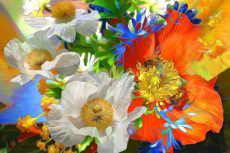 Обои рендеринг, цветы, яркий, линии картинки на рабочий стол, фото скачать бесплатно