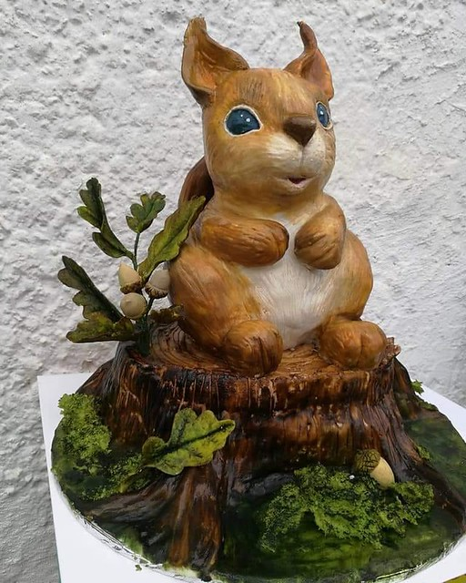 Squirrel on Stump (squirrel is a chocolate cake with hazelnuts and stump is a honey cake with caramel). By Irina Kramorenko of IrinaK