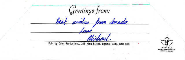 IMG_0059 Best Wishes from Canada. Regina Saskatchewan Canada. Postcards from MGS Worldwide travels to Geoff and Jean Spafford c1983