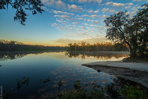 sunrise sunrises sun sky clouds cloud morning river water reflection tree trees waterway centralflorida florida bluespringsp sunlight floridapark