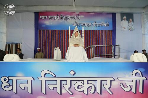 Her Holiness Satguru Mata Sudiksha Ji Maharaj on the dais