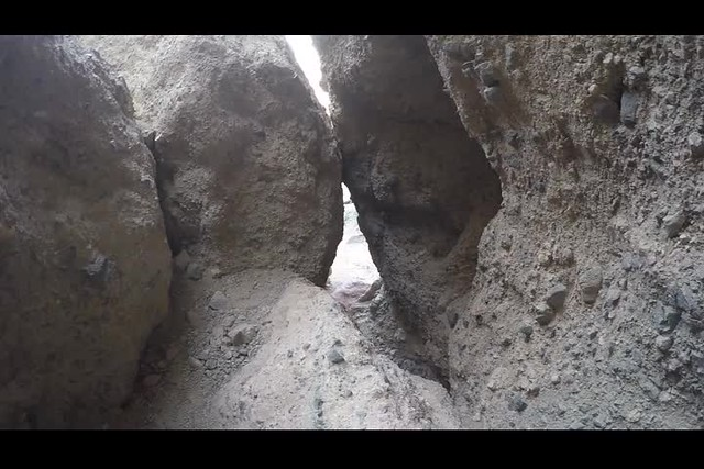 1254 GoPro video of scrambling through under the chockstones in Slot Canyon Two in Sidewinder Canyon