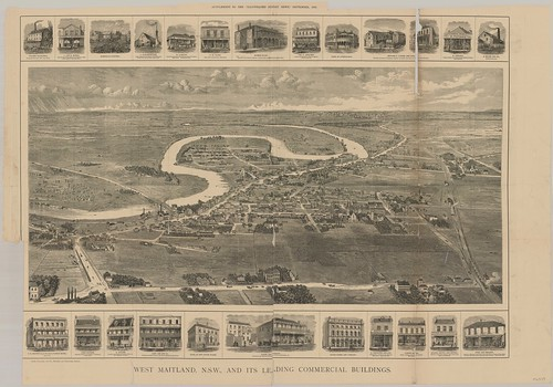 West Maitland, N.S.W. and its Leading Commercial Buildings. (The Illustrated Sydney News, 7th September 1878, Supplement) | by UON Library,University of Newcastle, Australia
