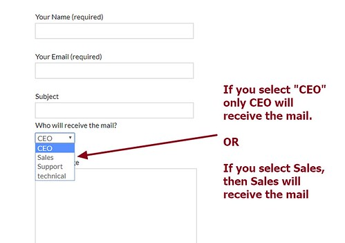 Contact Form 7 send mails based on drop down person or department selection | by wordpress css customization