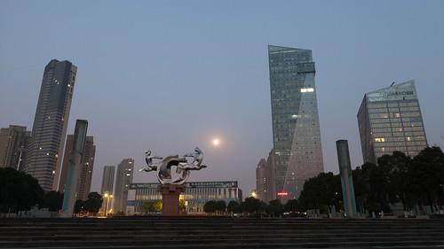 yixing wuxi jiangsu china prc sunrise dawn softlight sculpture artwork public park lemeridien hotel moon