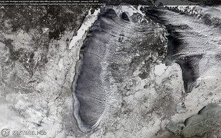 Lake Michigan and Lake Huron with some lake-effect snow to the east, USA, Canada | by Pierre Markuse