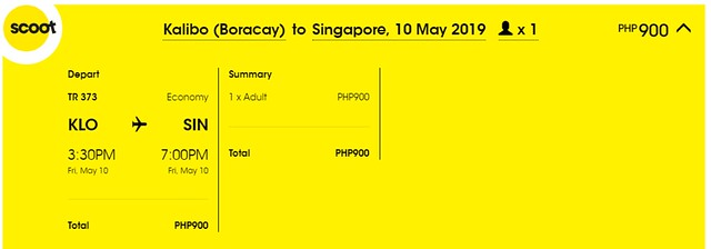 Scoot Airlines Kalibo to Singapore Promo
