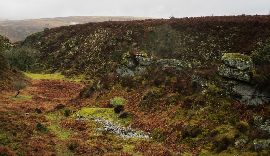Chaw Gully Logan Rock (view down the gully) Dartmoor Devon England
