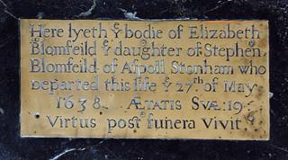 Here lyeth ye bodie of Elizabeth Blomfeild 27th of May 1638 her age 19