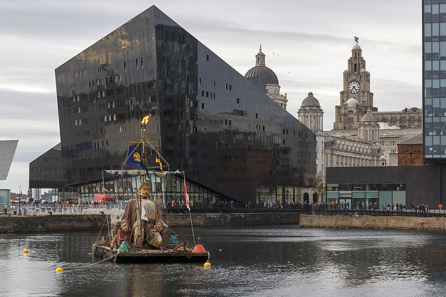 Shipwrecked Giant in Canning Dock, Liverpool waterfront, Merseyside, UK