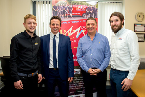 Nigel Huddleston MP at Buzz Electrical with Steve Owens and former apprentices Ross and Sam | by Nigel Huddleston MP for Mid Worcestershire