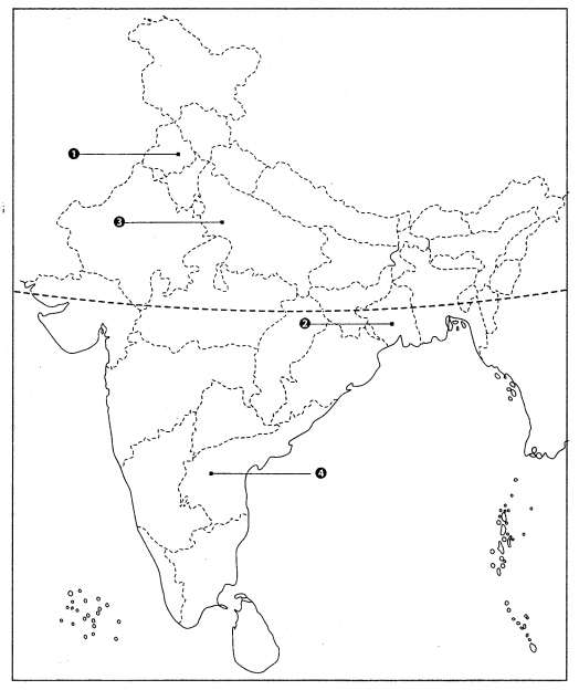 Class 10 Geography Map Work Chapter 4 Agriculture Q2