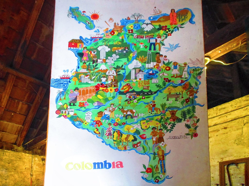 A hand drawn map of Colombia in the Cartagena fortress   Flickr Cartagena Colombia Map on