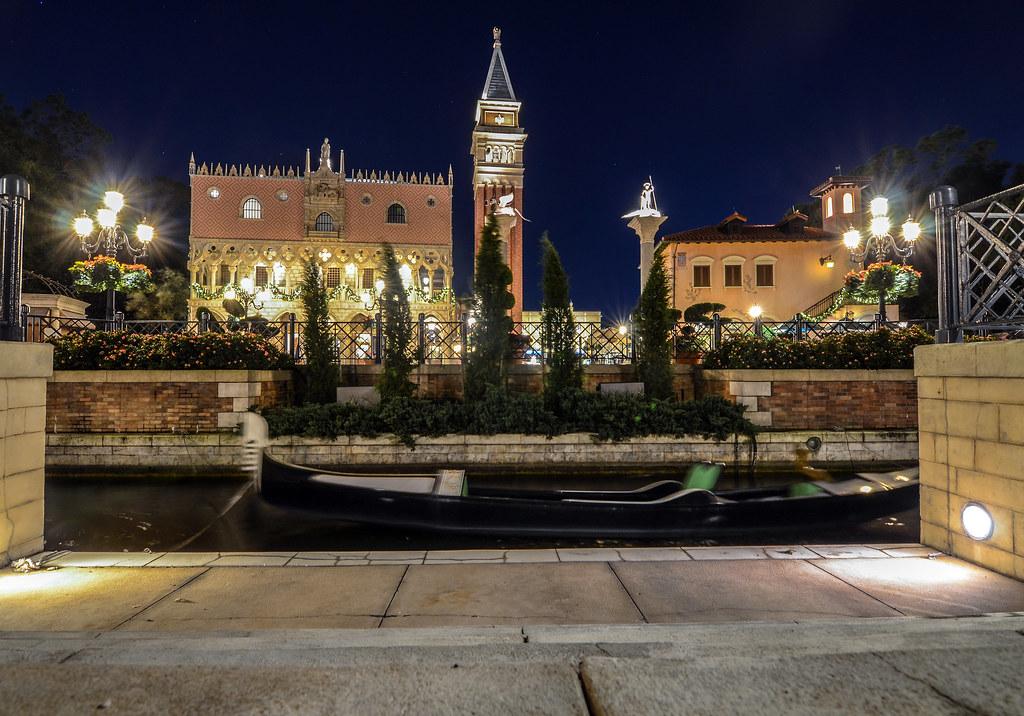 Italian Pavilion gondola night Epcot
