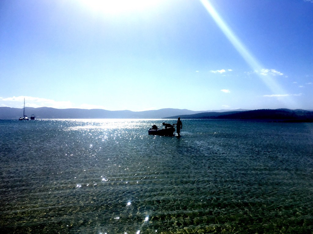 M and SB - first to the dinghy. Great Bay, Bruny Island.